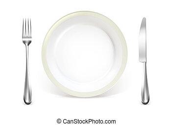 monture, dîner, vecteur, endroit