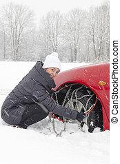 monture, femme, chauffeur, pneu, chaînes