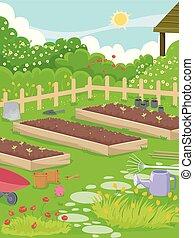 monture, jardin, illustration