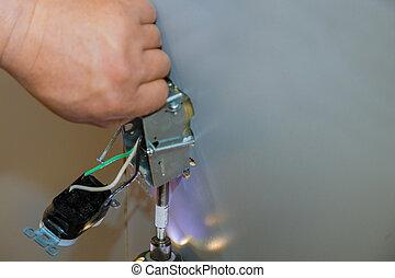 monture, sorties, installed, connecteur, professionnel, électrique, mains, pendant