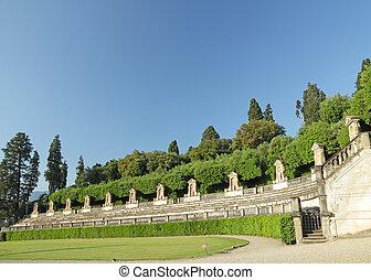 monumentální, zahrada, do, itálie
