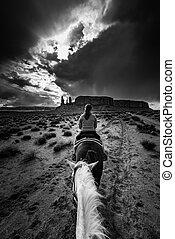 monument, équitation, vallée, cheval