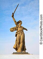 monument, av, inföding, land-, mor, in, volgograd