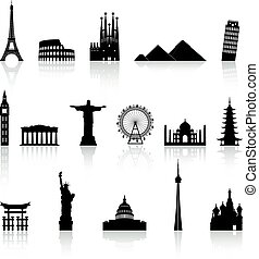 monument, beroemd, vector, set, iconen