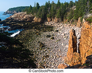 Monument Cove Seastack, Acadia National Park, Maine -...