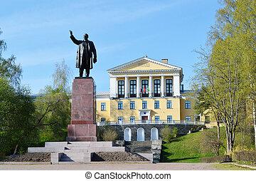 Monument for Lenin and school building in the Zelenogorsk, ...