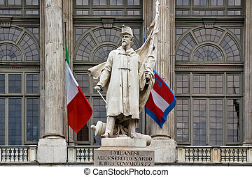 Monument for the sardinian against the milan army