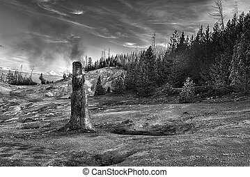 Siliceous spire with a long-exposure smoke seen at Monument Geyser Basin. Yellowstone National Park, Wyoming - USA. Black and white