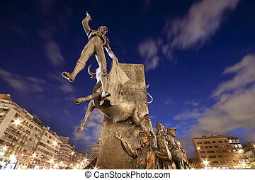 Monument in front of bullring in Madrid