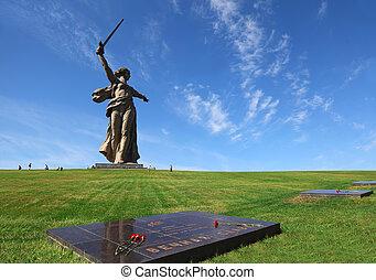 monument, motherland, in, volgograd, russia;, minnes-, pläterar, med, blomningen