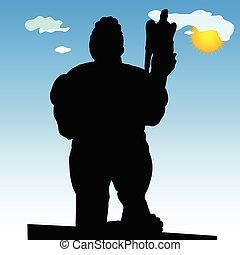 monument of Belgrade winner in close silhouette vector