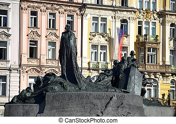 Monument of Jan Hus on the Old town Square in Prague, Czech Republic