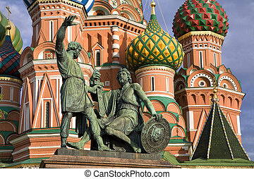 monument of Kuzma Minin and Dmitry Pozharsky, and St. Basil church in Moscow.
