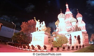 Monument of Minin and Pozharsky stands on First festival...
