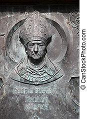 Monument of Rudolf II von Scherenberg, the Bishop of Wurzburg in Gemunden, Germany