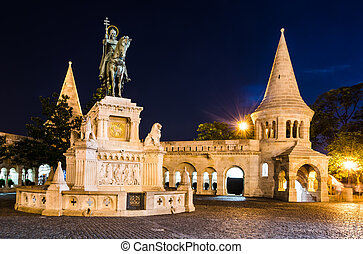Equestrian statue and monument of Saint Stephen, erected in 1906 by architect Frigyes Schulek in Budapest, Hungary