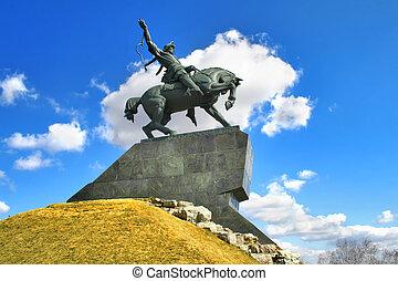 Monument of Salawat Yulaev in Ufa, Bashkortostan, Russia