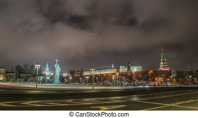 monument of Vladimir in Moscow at night - Monument of...