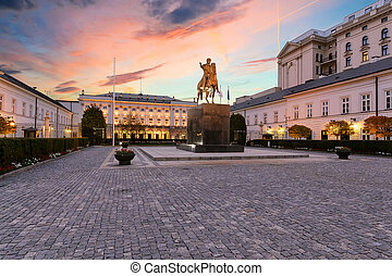 Monument on the square in Warsaw