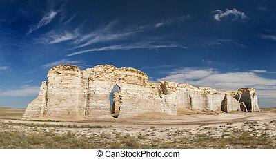 Monument Rocks limestones formations in Kansas