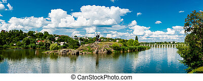 Monument Rosich on the island Green. Korsun-shevchenkovsky, Cherkasy region, Ukraine