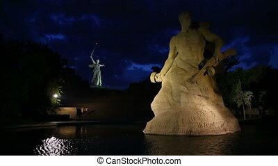 Monument Stay to Death in Mamaev Kurgan at night, Volgograd,...
