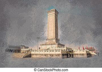 monument, till, den, folk, landgångssandwich, på, tian'anmen, fyrkant, beijing