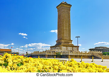 monument, till, den, folk, landgångssandwich, på, tian'anmen, fyrkant, -, den, tredje, störst, fyrkant, in, världen, beijing.