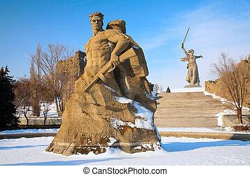 monument, till, rysk, tjäna som soldat, in, volgograd