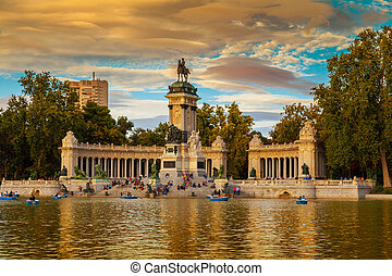 Monument to Alfonso XII in the Parque de Buen Retiro in Madird, Spain