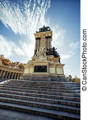 Monument to Alonso XII, Buen Retiro park, Madrid, Spain