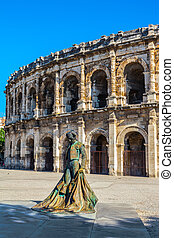 Monument to bullfighter in front of amphitheater - Monument ...