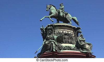 Monument to Emperor Nicholas I. St. Petersburg. Shot in 4K...