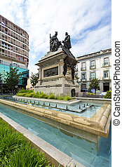 Monument to Ferdinand and Isabella in the Plaza Isabel la...