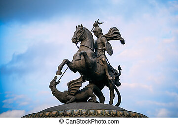 Monument to George on Manezh Square in Moscow, Russia