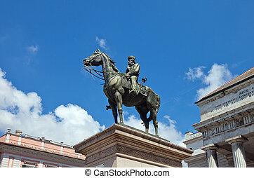 Equestrian statue (1893) of Giuseppe Garibaldi (1807-1882), general, hero of Italian unification. Sculptor Augusto Rivalta. Ferrari square, Genoa, Italy