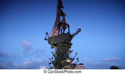 Monument to great russian tsar Peter the Great at night