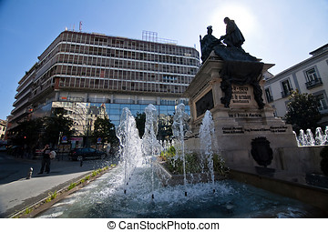 Monument to Isabel La Catolica and Cristobal Colon against...