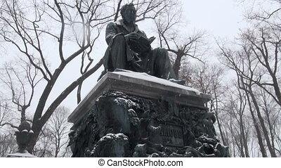 Monument to Krylov in the Summer garden. Saint-Petersburg
