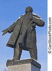Monument to Lenin on a background of the blue sky winter in the city of Velsk, Arkhangelsk region, Russia