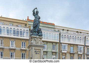 Monument to Maria Mayor Fernandez de Camara y Pita, known as Maria Pita, was a Galician heroine of the defense of A Coruna in 1589 against the English Armada in Galicia, Spain.