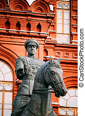 Monument to Marshal Georgy Zhukov on red square in Moscow, Russi