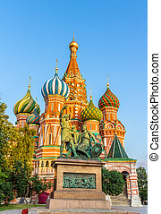 Monument to Minin and Pozharsky and St. Basil Cathedral in Moscow, Russia