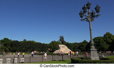 Monument to Peter I on the Senate square in St. Petersburg. Bronze Horseman. 4K.