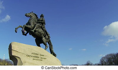 Monument to Peter I on the Senate square in St. Petersburg. Bronze Horseman.