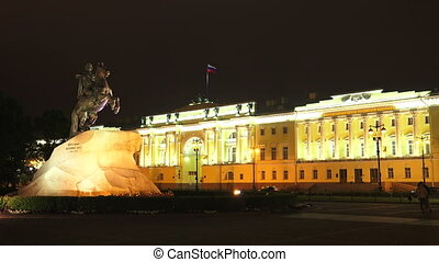 Monument to Peter I on the Senate square in St. Petersburg. Bronze Horseman. Night.