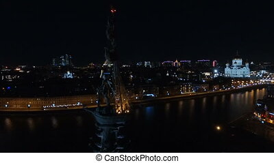 Monument to Peter the Great in Moscow at night - aerial view...