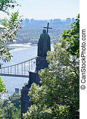 Monument to Prince Vladimir, the Baptist of Russia, at the park of Vladimirskaya Gorka, Kiev, Ukraine