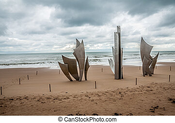 Monument to the fallen Americans during the landing at Omaha Beach in Normandy