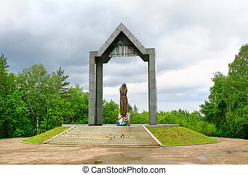 Monument to the grieving mother dedicated to soldiers, natives of Bashkortostan, who died in a local military conflicts, Ufa, Russia